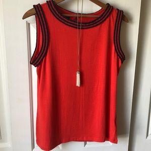 Talbots sleeveless top red/ navy size M petite